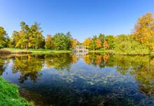 Sightseeing Of Saint Petersburg. Marble Bridge And Catherine Park, Beautiful Autumn Landscape, Pushkin (Tsarskoe Selo), Russia
