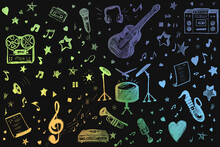 Illustration, Graphic Drawing On The Theme Of The Pattern Of Music And Musical Instruments. The Graphic Shows Harp, Guitar, Drums, Notes, Hearts, Stars, Speakers, And Sound. Multi-colored Lines.
