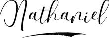 Nathaniel -Male Name Cursive Calligraphy On White Background