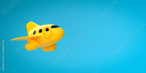 Holiday vacation travel concept: toy airplane flying high - 3d render - Airport travel transportation