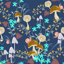 Vector Floral Seamless Pattern With Hand Drawn Mushrooms, Flowers, Leaves, Snails. Cute Doodle Style Texture. Vintage Background. Funny Repeat Design For Kids, Boys And Girls, For Decor, Print, Fabric