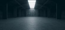 Spaceship Sci Fi Concrete Rough Cement Garage Tunnel Corridor Warehouse Showroom Underground Futuristic Modern Background 3D Rendering