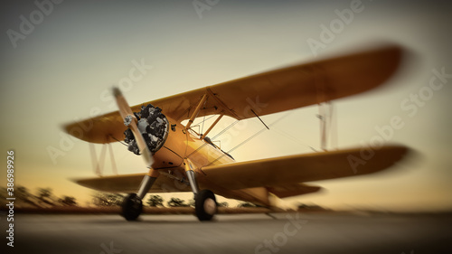 Obraz sports plane on a runway against a sunset - fototapety do salonu
