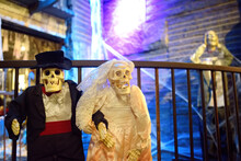 New York, USA - October 20, 2018: Halloween Decoration In Chelsea Market At Evening. Halloween - Traditional American Autumn Holiday.
