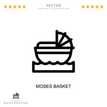 Moses Basket Icon. Simple Element From Digital Disruption Collection. Line Moses Basket Icon For Templates, Infographics And More