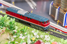 Railway Modelling. Close-up About Model Train On The Rail Tracks