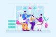 Coworking Space with Group of Creative People - Vector Illustration