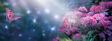 Fantasy Magical Enchanted Fairy Tale Dreamy Elf Forest With Fabulous Fairytale Blooming Pink Rose Flower Garden And Butterflies On Mysterious Background, Shiny Glowing Stars And Moon Rays In Night