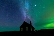 Black Church, Northerlight In Iceland