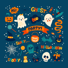 Halloween Holiday Cartoon Illustration Set With Cute Hand Drawn Characters, Elements And Letters.