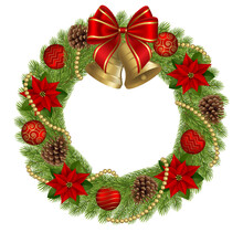 Christmas Wreath With Red Ribbon, Gold Bells, Poinsettia Flowers, Christmas Balls And Pine Cones