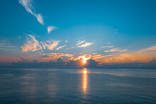 Sun Rising From The Sea. Color...