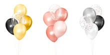 3d Vector Realistic Golden, Rose And Silver Bunches Of Helium Balloons Isolated On White Background. Decoration Element Design For Birthday, Wedding, Parties, Celebrate Festive. Vector Illustration
