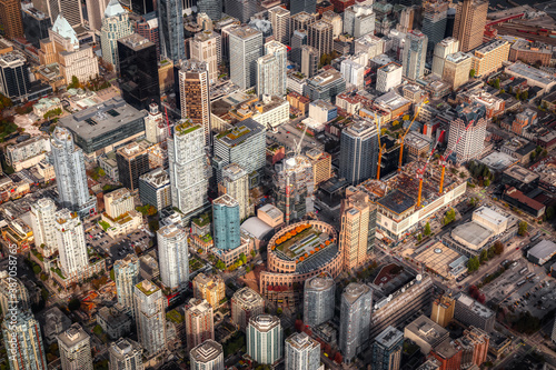 Aerial view of the City Buildings in Vancouver Downtown , British Columbia, Canada. Modern Cityscape
