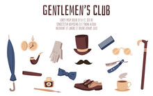 Gentlemens Club Web Banner With Vintage Fashion Items, Flat Vector Illustration.