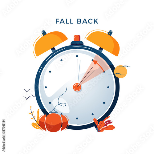Obraz Daylight Saving Time concept. Autumn landscape with text Fall Back, the hand of the clocks turning to winter time. DST in Northern Hemisphere, USA time, vector illustration in modern flat style design - fototapety do salonu