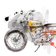 Handrawn Tracker Motorcycle Illustration