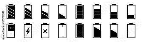 Tela Battery icons set isolated on white background