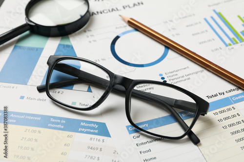 Obraz Concept of financial planning with accessories, close up - fototapety do salonu