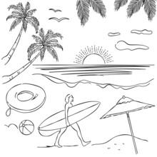 リゾート ヤシの木 サーファー あしらい ペン画 手書き