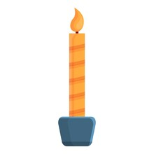 Cozy Home Xmas Candle Icon. Cartoon Of Cozy Home Xmas Candle Vector Icon For Web Design Isolated On White Background