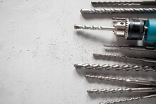 Close Up Of Drill Bits On Conc...