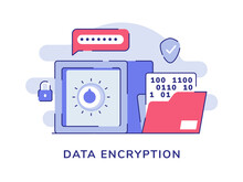 Data Encryption Vault Bank Password Number File White Isolated Background With Flat Style