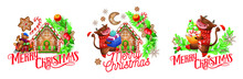 Vector Christmas Illustration. Symbol Of The Year 2021. Cartoon Bulls. New Year's Animals. Funny Bulls In Christmas Sweaters With Gifts. Christmas Card. Holiday Compositions. Decorative Element.