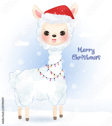 Naklejka premium Christmas greeting card with adorable llama in watercolor style. Christmas background illustration.