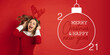 Leinwandbild Motiv Emotional Santa Claus' deer greeting with New Year 2021 and Christmas. Beautiful woman in red costume. Concept of holidays and winter mood. Flyer with cpyspace. Stylish senior with nice sign
