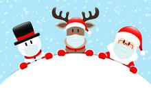 Schneemann Rentier Und Weihnachtsmann Maske Rundes Banner Schnee Blau