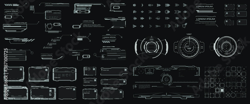 Fototapeta Futuristic HUD elements with link boxes, arrows, callouts, headers, pointers, borders, info fields and boxes. Set of Elements for Video Games or Modern Sci-Fi User Interface obraz