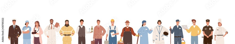 Fototapeta Collection of people of different professions isolated on white background. Backdrop with male and female workers. Specialists in uniform. Vector illustration in flat cartoon style