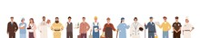Collection Of People Of Different Professions Isolated On White Background. Backdrop With Male And Female Workers. Specialists In Uniform. Vector Illustration In Flat Cartoon Style