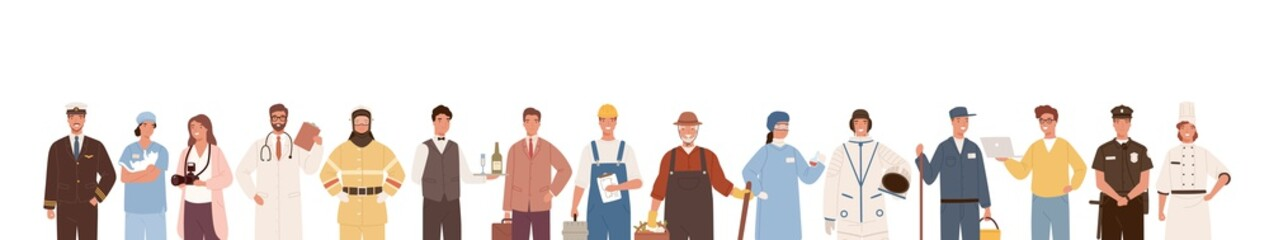 Fototapeta Golf Collection of people of different professions isolated on white background. Backdrop with male and female workers. Specialists in uniform. Vector illustration in flat cartoon style