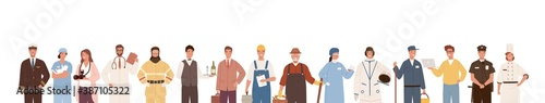 Collection of people of different professions isolated on white background. Backdrop with male and female workers. Specialists in uniform. Vector illustration in flat cartoon style - 387105322