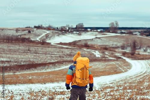 Obraz tourist winter landscape snow, guy winter view, travel adventure freedom - fototapety do salonu