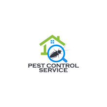 Pest Control Service Logo Concept. Prevention, Extermination And Disinfection Of The House From Insects, Fungi And Small Rodents. Forgiving Parasites Professional Company, Vector Logotype