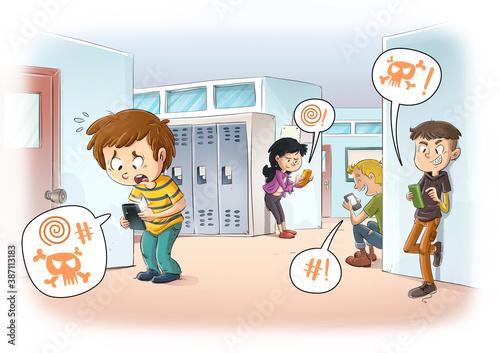 Obraz Child suffering cyberbullying at school - fototapety do salonu