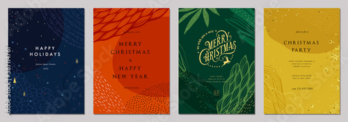 Modern universal artistic templates. Merry Christmas Corporate Holiday cards and invitations. Abstract frames and backgrounds design. Vector illustration. - 387114761