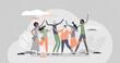 Friends social community group together despite diversity tiny person concept