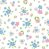 Forget-Me-Not floral seamless vector pattern background. Beautiful backdrop of painterly watercolor effect groups of pink blue mysotis flowers. Hand drawn botanical design. All over print for spring
