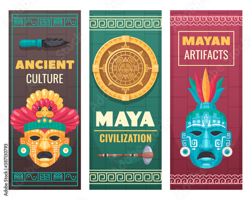Obraz Maya Civilization Cartoon Banners  - fototapety do salonu