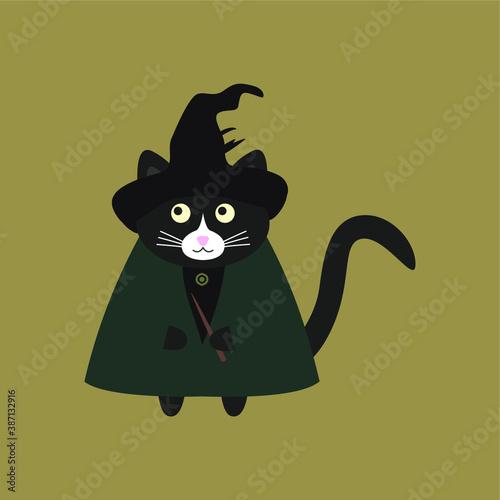 Fotografia, Obraz Сute cat witch with a magic wand, in a dark green cloak and a black hat