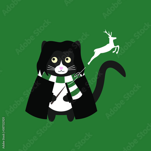 Leinwand Poster Сute cat Severus Snape with a magic wand, in a black cloak, white and green scarf and a magic deer