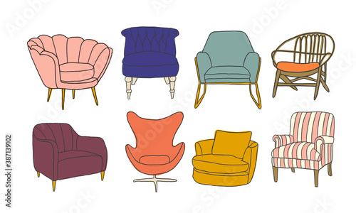 chairs collection vector illustration Fotobehang