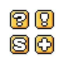 Pixel Art 8-bit Golden Boxes Set. Question Mark, Exclamation Mark, Letter S And Plus Sign Icons - Editable Vector Illustration