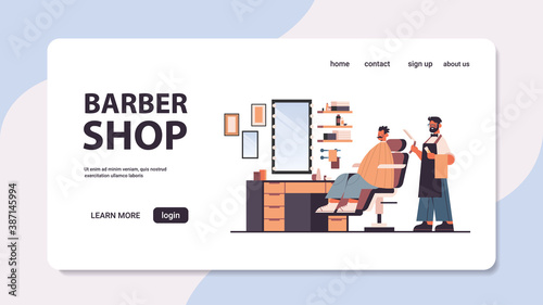 stylish hairdresser cutting hair of client male barber in uniform trendy haircut barbershop concept full length horizontal copy space vector illustration
