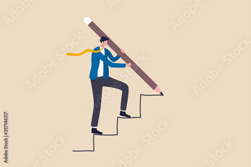 Business development successful, strategy to reach business target or career path achievement concept, smart businessman use huge pencil to draw rising up staircase and walk climbing up ladder Wallpaper Mural