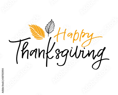 Happy ThanksGiving Day - cute hand drawn doodle lettering label Wallpaper Mural